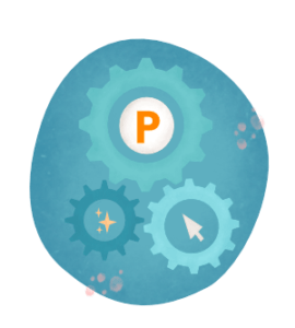 cogs, product hunt logo, and sparkles