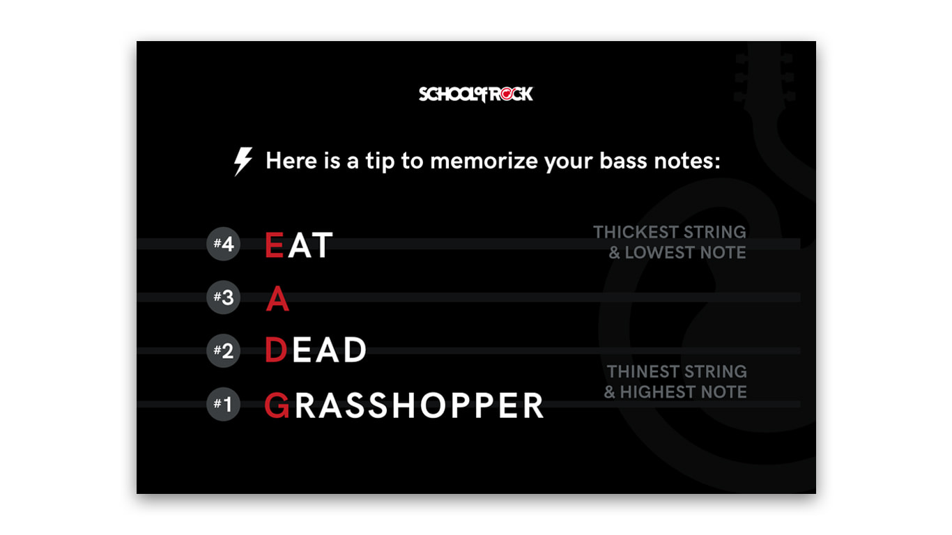 Shareable Image with a Tip for Memorizing Bass Notes for School of Rock